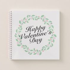 #Simple Happy Valentine's Day Floral Notebook - #floral #gifts #flower #flowers