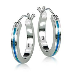 Opal View Sterling Silver Created Blue Opal Hoop Earrings, 19mm * Learn more by visiting the image link.