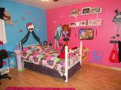 Monster high room Like the white skull at top and use tulle to go to each side of the bed  Start higher on the wall...