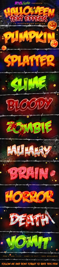 Halloween Text Effects PS Styles - Text Effects Photoshop Styles. Download here: http://graphicriver.net/item/halloween-text-effects-ps-styles/5767900?s_rank=1&ref=yinkira