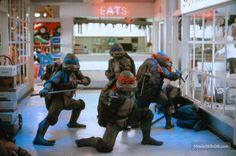 Teenage Mutant Ninja Turtles II: The Secret of the Ooze publicity still of Mark Caso, Michelan Sisti, Leif Tilden & Kenn Scott
