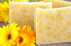 Lemon & Calendula Soap - with lemongrass essential oil and calendula petals. Gentle enough for eczema & psoriasis suffers.