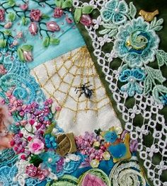 Crazy quilt with buttons, photo transfers, seed beading, silk ribbon flowers, motifs and ornate embroidery stitching. Crazy Quilt Stitches, Crazy Quilt Blocks, Crazy Quilting, Silk Ribbon Embroidery, Hand Embroidery, Quilting Designs, Embroidery Designs, Colchas Quilt, Art Du Fil