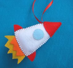 Retro Rocket - plush felt ornament. $10.00, via Etsy.