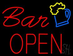 Bar Open with Beer Mug Neon Sign 24 Tall x 31 Wide x 3 Deep, is 100% Handcrafted with Real Glass Tube Neon Sign. !!! Made in USA !!!  Colors on the sign are Yellow, Blue and Red. Bar Open with Beer Mug Neon Sign is high impact, eye catching, real glass tube neon sign. This characteristic glow can attract customers like nothing else, virtually burning your identity into the minds of potential and future customers.