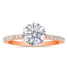 Round Diamond Rose Gold Engagement Ring Setting. Simple, and beautiful. Official the ring that I want. If only it were time. Lol.