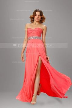 661c49b342a Rhinestone Sweetheart Sleeveless Zipper-Up Long Solid Ruched Split Evening  Dress