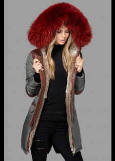 Semi-Fur Lined Down Parka