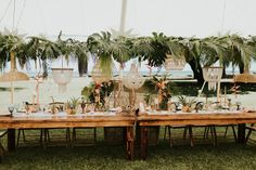 Tropical wedding centerpiece with beaded, macrame chandeliers, tropical greenery. Tropical Wedding Centerpieces, Tropical Wedding Reception, Kauai Wedding, Destination Wedding Inspiration, Wedding Ideas, Tropical Leaves, Traditional Wedding, Greenery, Orchids
