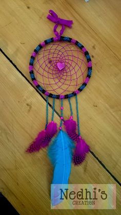 Beads Pink Black Blue Dreamcatcher