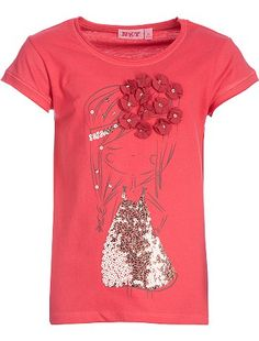 Tee-shirt sequins fantaisie     						                        	                            	                        	                            	    						blanc Fille