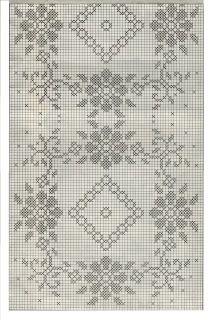 Professione Donna: Schemi per il filet: Striscia con rombi e fiori Crochet Table Runner Pattern, Crochet Lace Edging, Crochet Tablecloth, Crochet Cross, Cross Stitch Embroidery, Embroidery Patterns, Crochet Patterns, Filet Crochet Charts, Crochet Stitches