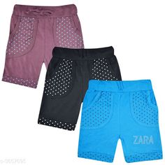 Shorts & Capris Classy Kid's Cotton Shorts Combo Fabric: Cotton  Size: Age Group (2 - 3 Years) - 20 in Age Group (3 - 4 Years) - 22 in Age Group (4 - 5 Years) - 24 in Age Group (5 - 6 Years) - 26 in Age Group (6 - 7 Years) - 28 in Age Group (7 - 8 Years) - 30 in Age Group (8 - 9 Years) - 30 in Age Group (9 - 10 Years) - 32 in Type: Stitched Description: It Has 3 Set Of  Kid's Girl's Shorts Work: Printed Country of Origin: India Sizes Available: 2-3 Years, 3-4 Years, 4-5 Years, 5-6 Years, 6-7 Years, 7-8 Years, 8-9 Years, 9-10 Years   Catalog Rating: ★4.1 (1032)  Catalog Name: Stunning Classy Kid's Cotton Shorts Combo Vol 14 CatalogID_510141 C62-SC1146 Code: 943-3657695-558