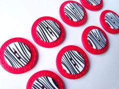 Zebra Striped Polymer Clay Buttons 3/4 inch by FlowertownOriginals, $6.80