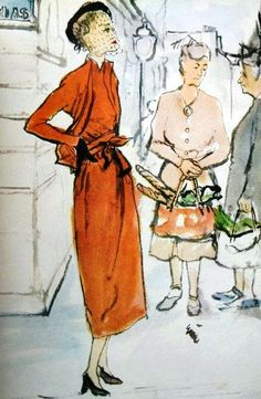 Orange wool suit Lucien Lelong, illustration Carl Erickson, 1947