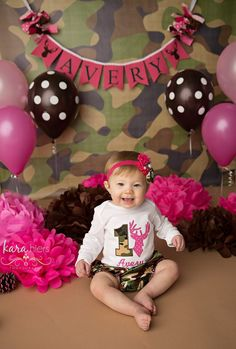 Personalized Pink Camo First Birthday Shirt by EmeraldCoveDesigns