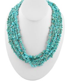 Multiple Strand Hand Braided Magnesite Turquoise Necklace