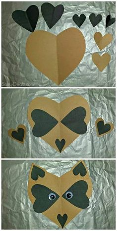 Paper Heart Raccoon Craft For Kids Posted In Lovely And Easy To Make DIY Valentines Day Tutorial Picture Toddler Crafts, Crafts To Do, Preschool Crafts, Diy Crafts For Kids, Projects For Kids, Art For Kids, Arts And Crafts, Paper Crafts, Diy Paper