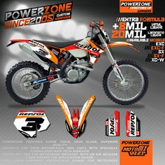 Custom Team Graphics & Backgrounds Decals 3M REPSOL Stickers Decals Kits For KTM SX SXF EXC 125 250 450 5251998-2017