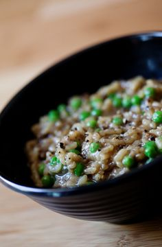 Creamy Mushroom-Pea Risotto, a Vegan Recipe from Katelyn  vegan, plantbased, earth balance, made just right