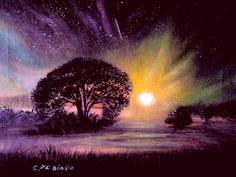aurora  boreale  30x40  olio  su  tela  -cristina  de  biasio-