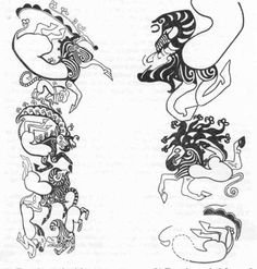 the more i look at these, the more i like their fantastical nature | scythian chieftain's tattoos
