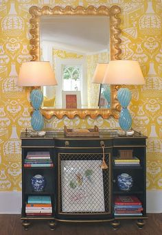 Yellow Chinoiserie wallpaper by David Hicks for Calrence House- The Vase