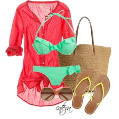 A fashion look from March 2013 featuring sash belt, halter bikini top and swimming costume. Browse and shop related looks.