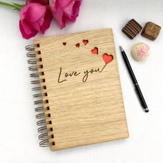 Love You with Hearts Wooden Notebook - different colours available - Unique Valentine's Day Birthday Anniversary Gift Anniversary Gift For Her, Anniversary Cards, Front Cover Designs, Rolled Paper Flowers, Valentines Day Birthday, Body Hacks, Cute Gifts, Different Colors, Wood Invitation