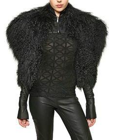 Gareth Pugh Nappa Leather and Mongolian Fur Bolero Top   UpscaleHype