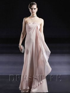 Latest A-line Floor-length Strapless Beading Pink Chiffon Prom Dresses, US$88.99