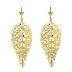 "2.75"" Curve Leave Shape With Wave Design Dangle Yellow Gold Plated Earrings Gem Stone King. $24.99. 4.80 grams. 2-3/4 Inches. Gold Plated Dangle Earrings. Lever Back. Save 75% Off!"