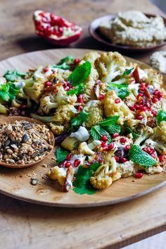 Christmas Salad - roast cauliflower with eggplant hummus & walnut dukkah