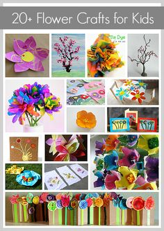 Over 20 Gorgeous Flower Crafts for Kids from Buggy and Buddy. These would look great on a spring bulletin board.