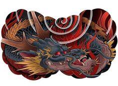 Japanese Mask Tattoo, Japanese Flower Tattoo, Japanese Dragon Tattoos, Japanese Tattoo Designs, Japanese Sleeve Tattoos, Dragon Tattoo Chest, Dragon Tattoo Art, Full Chest Tattoos, Chest Piece Tattoos