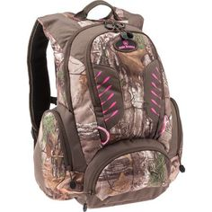 We love the pink lining and large storage space in this hunting backpack from Game Winner