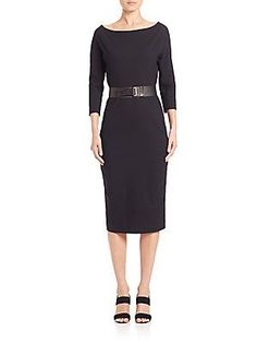 Donna Karan Belted Sheath Dress - Black - Size