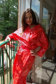 My beautiful red plastic mac Red Raincoat, Vinyl Raincoat, Raincoat Jacket, Plastic Raincoat, Hooded Raincoat, Rain Jacket, Imper Pvc, Rain Fashion, Rain Suit