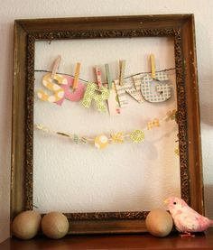 washi on the clothespins, old frame -Lexi Bridges for OA