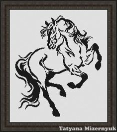 Cross stitch pattern Horse black-white by TatyanamStitch on Etsy