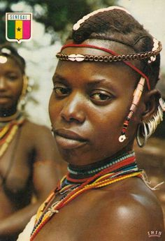 Africa | Bassari woman. Senegal | Scanned postcard; published by IRIS African Girl, African Beauty, African Women, Beautiful Lips, Black Is Beautiful, Beautiful Women, Tribal Women, Tribal People, African Tribes
