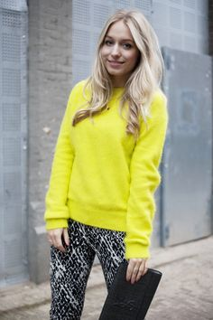 printed pants and bright colors
