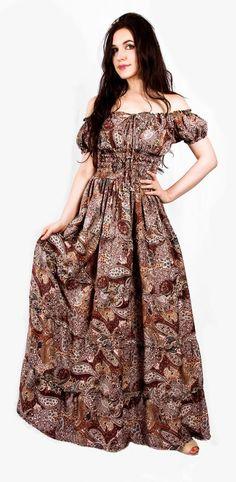 I-D-D Renaissance Peasant Paisley Faire Gown Boho Hippie Bohemian Sun Dress #Dress