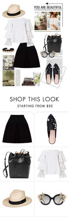 """""""24.04.2017"""" by desdeportugal ❤ liked on Polyvore featuring Miu Miu, KG Kurt Geiger, Mansur Gavriel, Exclusive for Intermix, Roxy, Alice + Olivia and Chanel"""