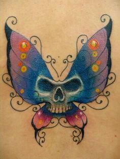 ideas for tattoo butterfly skull posts Skull Butterfly Tattoo, Colorful Butterfly Tattoo, Butterfly Tattoo Designs, Feather Tattoos, Skull Tattoos, Flower Tattoos, Sleeve Tattoos, Tatoos, Ribbon Tattoos