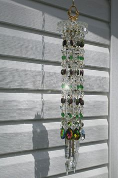 Purple green persuasion. Vintage crystal sun catcher wind chime. by Leah. Sold.