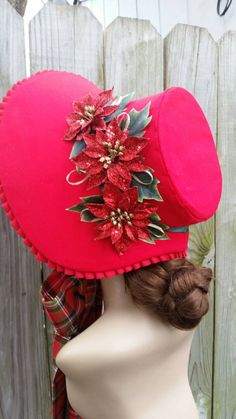 Red Christmas Caroling Bonnet by 1800sMillineryShop on Etsy