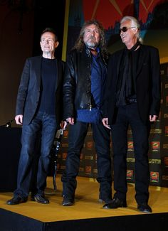 (L-R) John Paul Jones, Robert Plant and Jimmy Page of Led Zeppelin attend a press conference to announce Led Zeppelin's new live DVD Celebration day at 8 Northumberland Avenue on September 21, 2012 in London, England.
