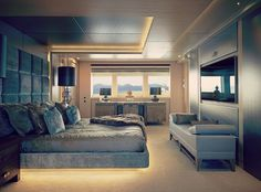 The majestic Sunseeker 155 Yacht is the largest and most advanced yacht we have ever produced. A sublime example of design and engineering. Luxury Yacht Interior, Luxury Yachts, Super Yachts, Built In Furniture, Luxury Furniture, Modern Bedroom, Bedroom Decor, Construction, Yacht Design