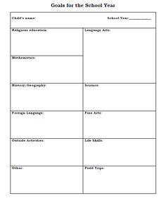 homeschooling goals printable